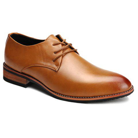 Trendy Pointed Toe and Tie Up Design Men's Formal Shoes - LIGHT BROWN 42