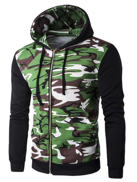 Rib Spliced Camo Long Sleeve Men's Zip Up Hoodie - BLACK XL