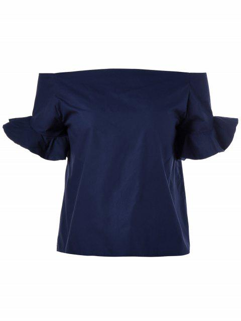 Stylish Off The Shoulder High-Low Hem Flounce Short Sleeves Blouse For Women - NAVY BLUE ONE SIZE(FIT SIZE XS TO M)