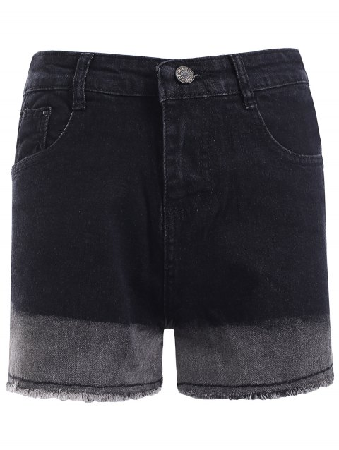 Simple Women's Gradient Color High Waist Denim Shorts - BLACK S