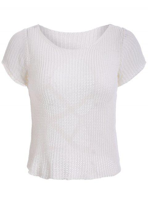 Open Back Criss-Cross Knitted T-Shirt - WHITE ONE SIZE(FIT SIZE XS TO M)