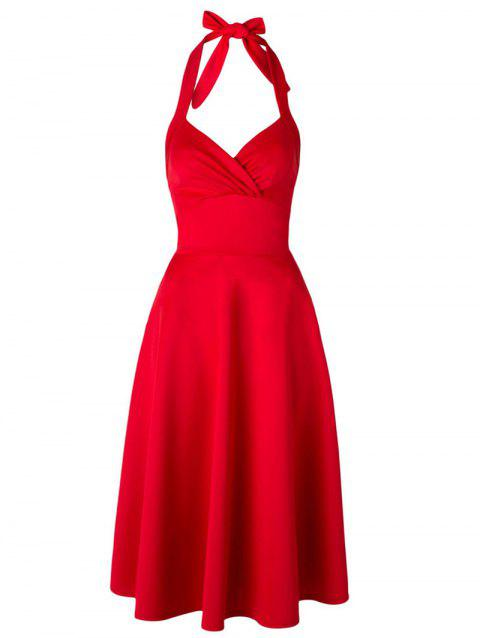 Retro Halter Neck Backless sweetheart Wrap Robe patineuse - Rouge L