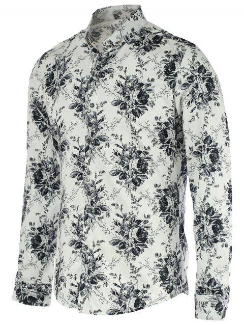 New Look Flower Print Turn-Down Collar manches longues pour les hommes - Blanc 2XL
