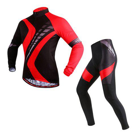 High Quality Comfortable Sport Cycling Jersey Pants Long Sleeve Suit - RED/BLACK L