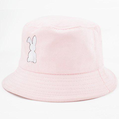 016c7f7e10d Cute Cartoon White Rabbit Embroidery Flat Bucket Hat For Women - LIGHT PINK