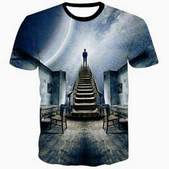 Slimming 3D Cartoon Gray Sky Scenery Print Round Neck Short Sleeves Men's Black T-Shirt