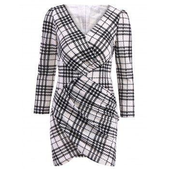 Sexy Plunging Neck 3/4 Sleeve Bodycon Plaid Women's Dress