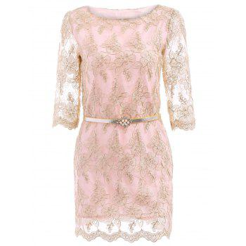 Charming Women's Slash Neck Half Sleeve Embroidered Lace Dress