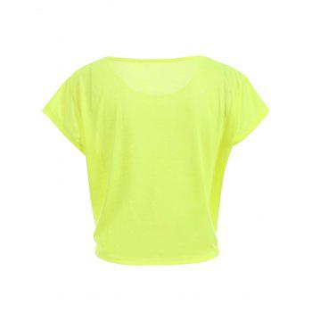 Active Scoop Neck Short Sleeve Candy Color Sport T-Shirt For Women - FLUORESCENT YELLOW M