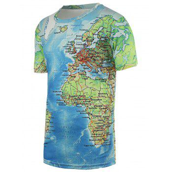 Chic Maps Print Round Neck Short Sleeves Tee For Men