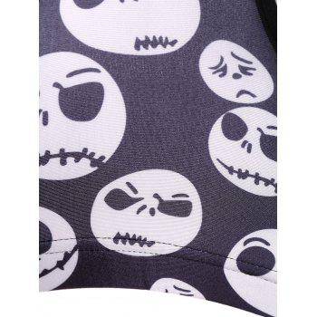 Active Skull Print Sport Crop Top For Women - DEEP GRAY DEEP GRAY
