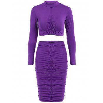 Stylish Women's Stand Collar Long Sleeve Crop Top and Ruched Skirt Suit