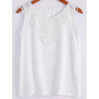 Chic Sleeveless Scoop Neck Lace Spliced Women's Tank Top