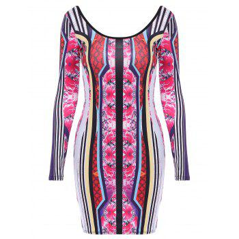 Colorful Long Sleeve Scoop Neck Dress For Women