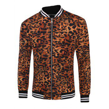 Leopard Varsity Stripe Trim Zippered Men's Jacket