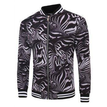 Zebra-Stripe Print Long Sleeve Zippered Men's Jacket