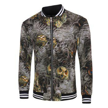 Varsity Stripe Trim Zippered Feather Owl 3D Print Men's Jacket