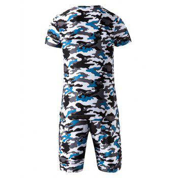 Camo Round Neck Short Sleeve T-Shirt and Elastic Waist Shorts Men's Twinset - BLUE L