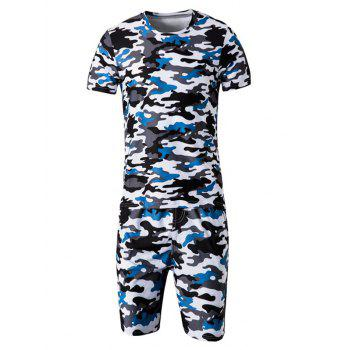 Camo Round Neck Short Sleeve T-Shirt and Elastic Waist Shorts Men's Twinset