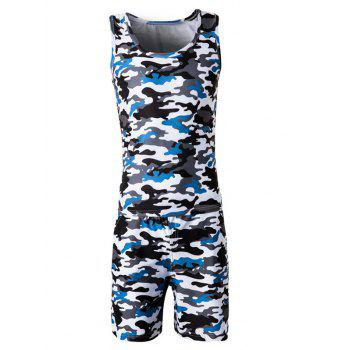 Camo Round Neck Tank Top and Elastic Waist Shorts Men's Twinset