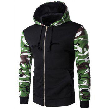 Camo Pattern Spliced Zip Up Long Sleeve Hoodie