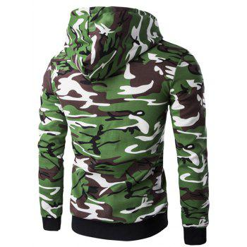 Camo Rib Spliced Zip Up Men's Long Sleeve Hoodie - ARMY GREEN CAMOUFLAGE XL