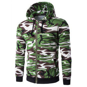 Camo Rib Spliced Zip Up Long Sleeve Hoodie