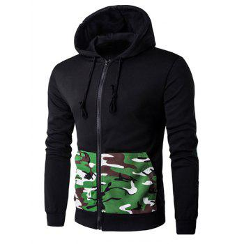 Patch Design Camo Rib Spliced Zip Up Long Sleeve Hoodie