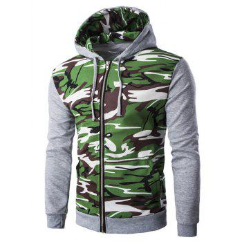 Rib Spliced Camo Long Sleeve Zip Up Hoodie