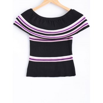 Skinny Off-The-Shoulder Overlay Knitted Blouse For Women