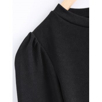 Simple Pure Color Flounce Layered Top For Women - BLACK XL