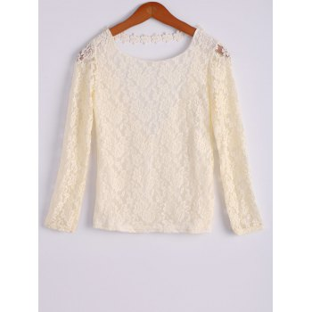 Stylish Long Sleeve Scoop Collar White Backless Lace Women's Blouse