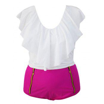 Stylish Ruffle Crop Top and High Waisted Boxers Briefs Two Piece Swimsuit