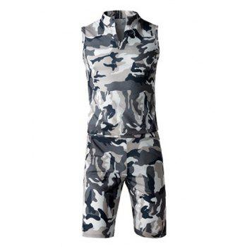 Camo Sleeveless Stand Collar Tank Top and Elastic Waist Shorts Twinset For Men