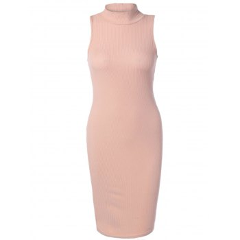 High Neck Sleeveless Bodycon Knit Dress