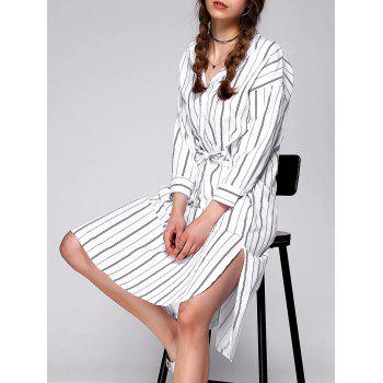 Long Sleeve Striped Loose Shirt Dress