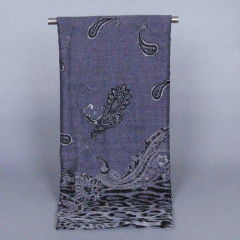 Chic Paisley Patchwork Leopard Pattern Women's Voile Scarf - DEEP GRAY