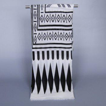Chic Tribal Style Geometry Pattern Fringed Women's Voile Scarf - WHITE/BLACK