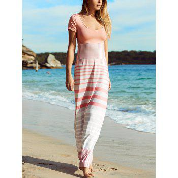 Crisscross Short Sleeve Striped Maxi Dress