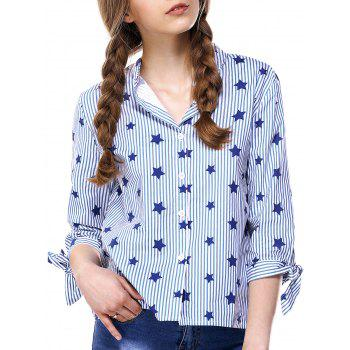 Chic Buttoned Star Print Striped Women's Shirt