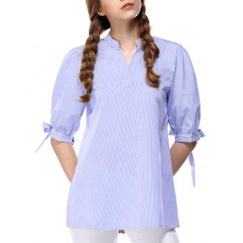Fashionable Half Sleeve Pinstriped Women's Blouse