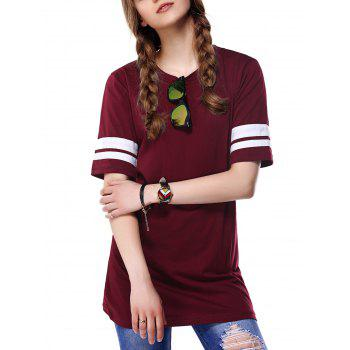 Trendy Round Neck Color Block Women's T-Shirt