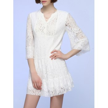 Sweet Flare Sleeve Pleated Lace Dress