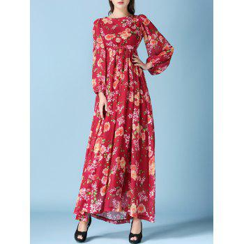 Charming Puff Sleeve High Waist Floral Dress For Women