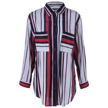 Chic Shirt Collar High-Low Hem Long Sleeves Striped Blouse For Women