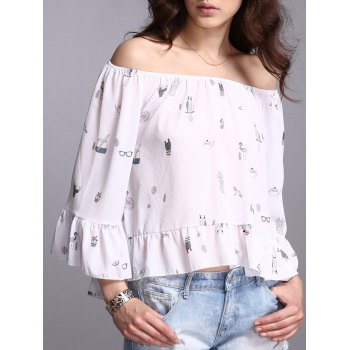 Flare Sleeve Off The Shoulder Print Blouse