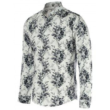New Look Flower Print Turn-Down Collar Long Sleeve Shirt For Men