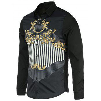 Chic Stripes Design Turn-Down Collar Long Sleeves Shirt For Men