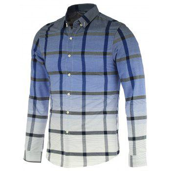 Fashion Gradient Color Stand Collar Long Sleeves Checked Shirt For Men