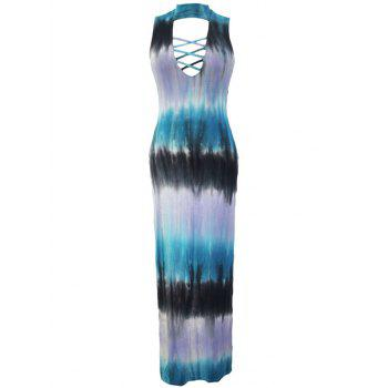 Bohemian Lace-UpTie-Dye Slit Maxi Dress